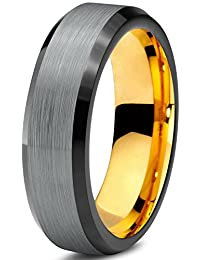 Tungsten Wedding Band Ring 6mm for Men Women Black Grey Rose Yellow Gold Plated Beveled Edge Brushed Polished