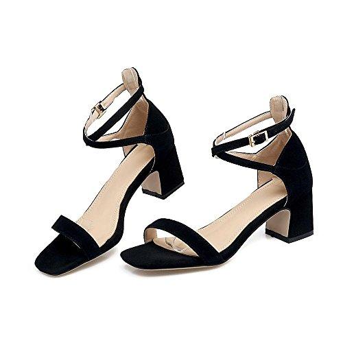 GJDE Zapatos Casuales Sandalias Mujer Tacón Robusto Zapatos del Club Sandalias Informal Fiesta y Noche Vestido Semicuero Black