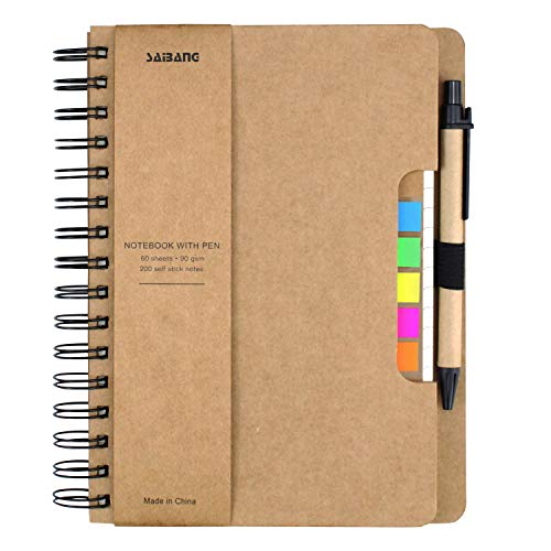 SAIBANG A5 Spiral Notebook Business Notepad with Pen in Holder and Sticky Notes Index Tabs Page Markers for School Office, 18 by 21 cm, 60 Sheets Totally, Kraft Cover (Khaki)