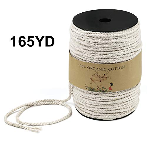 Macrame Cord, LUCKWET 4mm x 165yd(About 150m) Natural Cotton Soft Unstained Rope for Plant Hanger Craft Wall Hanging Tapestry Handmade DIY Crafts