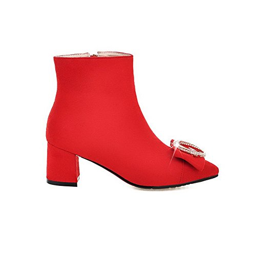 Allhqfashion Mujeres Punta Estrecha Kitten-heels Frosted Low-top Solid Botas Rojo