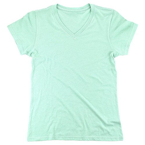 Mint Green Triblend Relaxed Longer V Neck Tee, - Europe Tri