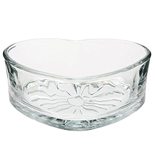 Libbey Heart Shaped Glass Bowl, - Heart Shaped Flowers