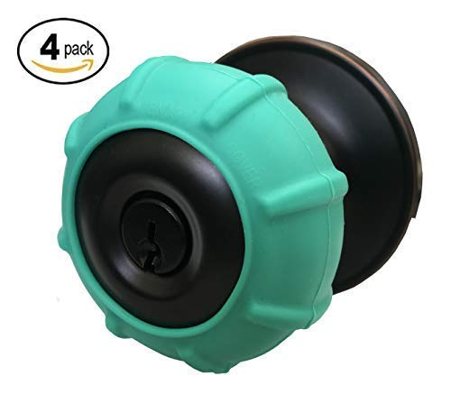 - New Enjoy Cover - Silicone Door knob Grips Maximum Grip Nonslip Arthritis & Senior Living Aids Grippy Easy Open Fits All Door Knob Universal Size Decorative Lifetime Warranty! 4 Pack (Aqua Green)