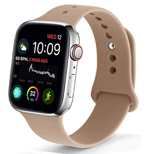 NUKELOLO Sport Band Compatible with Apple Watch 42MM 44MM,Soft Silicone Replacement Strap Compatible for Apple Watch Series 4/3/2/1 [M/L Size in Walnut Color]