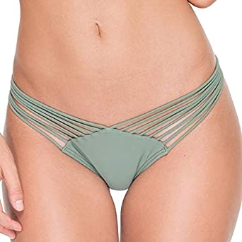 3c0344cd0d451 Amazon.com  Luli Fama Women s Cosita Buena Wavey Brazilian Ruched Back  Bikini Bottom  Clothing
