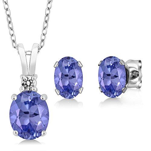 Gem Stone King 2.73 Ct Oval Blue Tanzanite 925 Sterling Silver Pendant Earrings Set