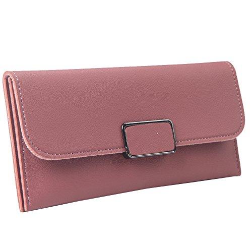 Bi Fold Clutch - Solarfun Bifold Clutch Purse Leather Wallet for Women Girls