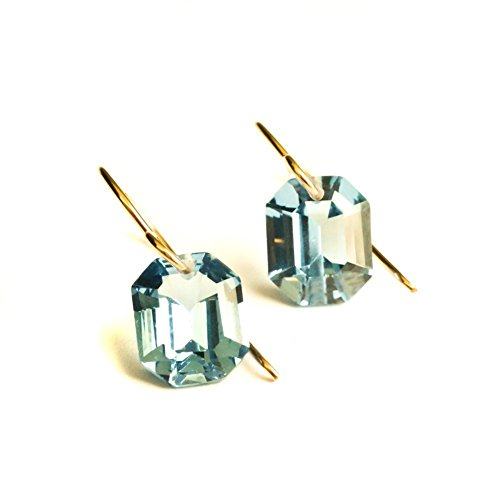 Gold Spinel Earrings - Blue earrings simulated spinel octagon in 14kt rose gold-filled