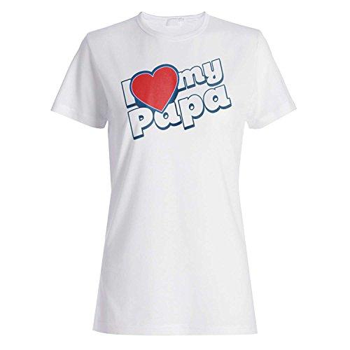 Amo mi regalo rojo del corazón de Papa Novedad camiseta de las mujeres m66f