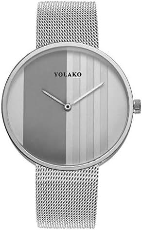Ultramall BC3 Sleek Minimalist Calendar Stainless Steel Mesh Belt Ladies Quartz Watch