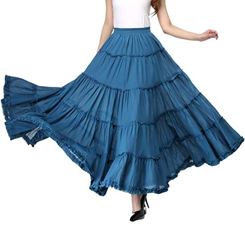 Circle Skirt Cotton (Vateno Gypsy Long Skirt for Women Pleated Boho Maxi Skirts Spain Belly Dance,Blue,One Size)