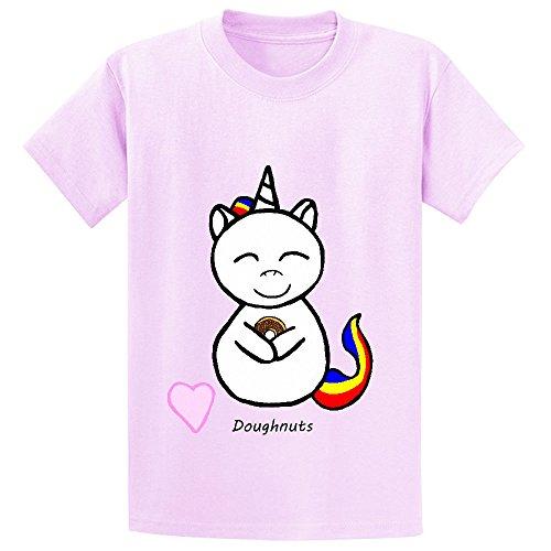 Vanky Unicorn Loves Doughnuts 3su Teen Print Crew Neck T-shirt Pink (Flash Rubber Wig)