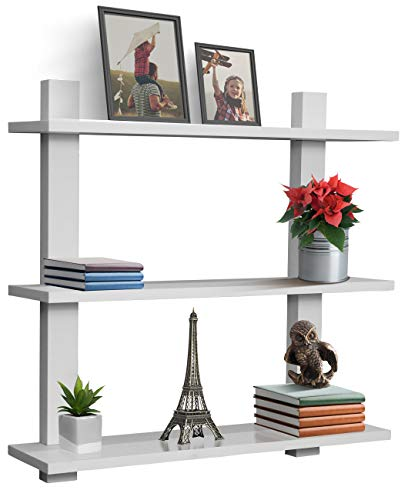 Sorbus Floating Shelf - Asymmetric Square Wall Shelf, Decorative Hanging Display for Trophy, Photo Frames, Collectibles, and Much More, Set of 3 (3-Tier - White)