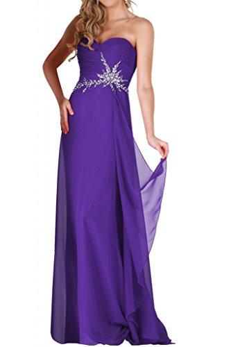 En forma de corazón de Toscana de la gasa de la novia vestidos de noche para mujer piedras madrinas a largo bola de vestidos de fiesta morado