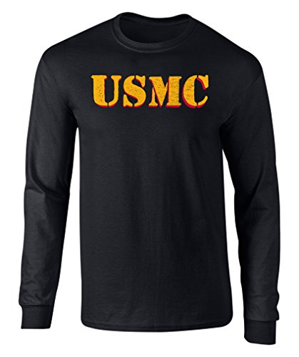 US Marines Vintage USMC Graphic Officially Licensed Long Sleeve T Shirt Black Medium
