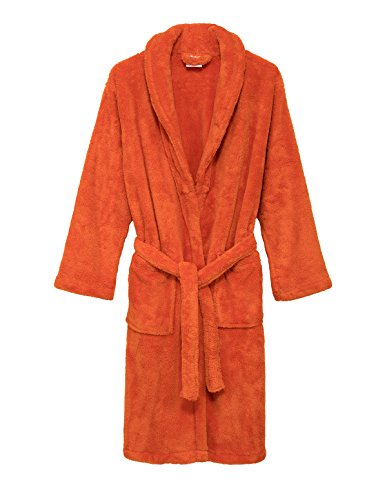 TowelSelections Little Boys' Robe, Kids Plush Shawl Fleece Bathrobe Size 4 Mandarin Orange -