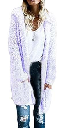 Women's Long Sleeve Fluffy Coat Outwear Hooded Open Front Cardigan 2 XS
