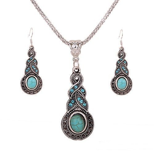 DOOPOOTOO 1 X Fashion Womens Retro Turquoise Rhinestone Earrings Necklace Jewelry Set