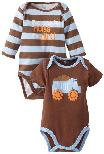 Gerber Baby-Boys Newborn 2 Pack Attitude Onesies Brand Bodysuit with 2 Sleeves