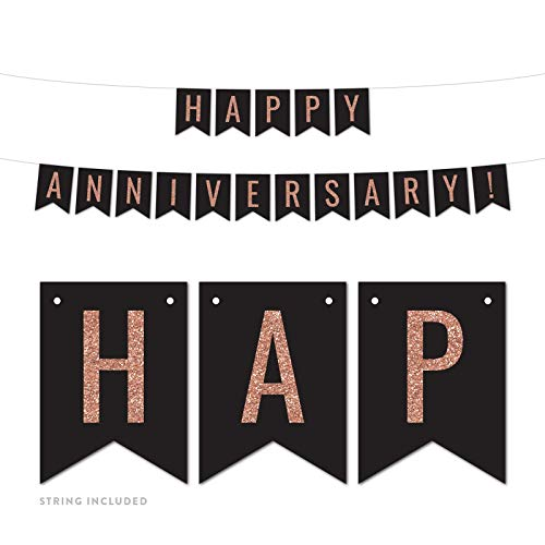 (Andaz Press Faux Rose Gold Glitter on Black Wedding Anniversary Party Banner Decorations, Happy Anniversary!, Approx 5-Feet, 1-Set, 1st, 5th, 10th, 25th 50th Hanging Pennant Decor, Not Real Glitter)
