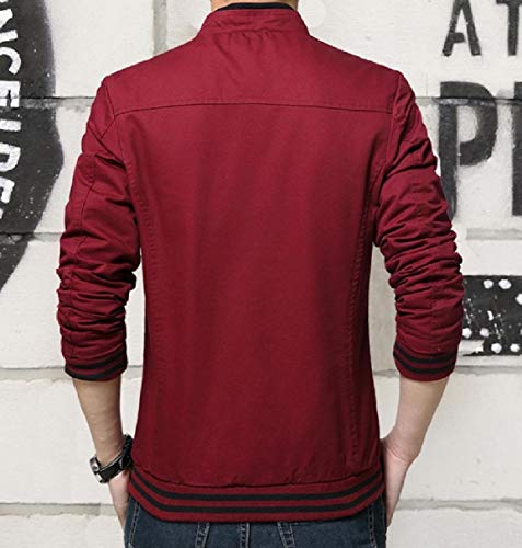 Fit Mens Coat Zip Plus Wine Relaxed Sleeve Basic Size Slim Red RkBaoye Long Jacket 81qdB1w