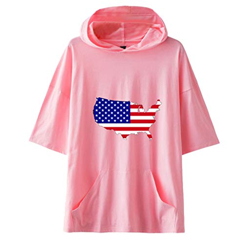 Smdoxi Neutral American Independence Day Hooded Short Sleeve Flag Print Simple Casual T-Shirt Pink]()