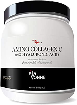 Amino Collagen C with Hyaluronic Acid (60 Servings 16oz_456g) - Protein Peptides Powder from Fish - Unflavored - No Sugar - Reduce Fine Lines, Wrinkles, Improve Skin Hydration & Joint Pain.