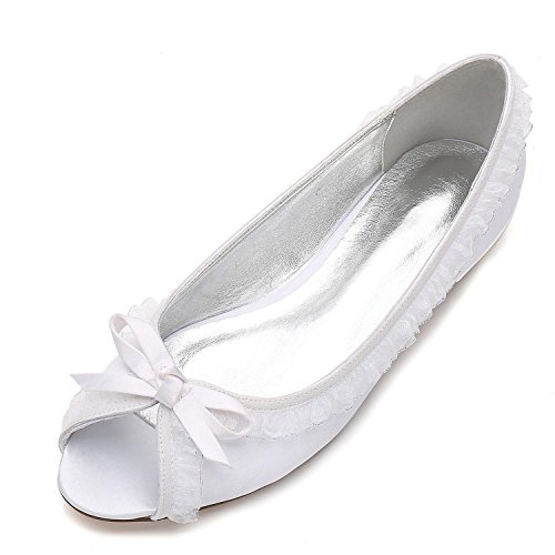 De Court Shoes Party Mujeres Encaje shoes Zapatos TamañO Elegant La Boda Peep Las De De Marfil Toe F5049 Pumps 18 Party White high UHAqwz