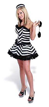 Sunnywood Women's Lava Diva Convict Corset Costume, Black/White, Small/Medium