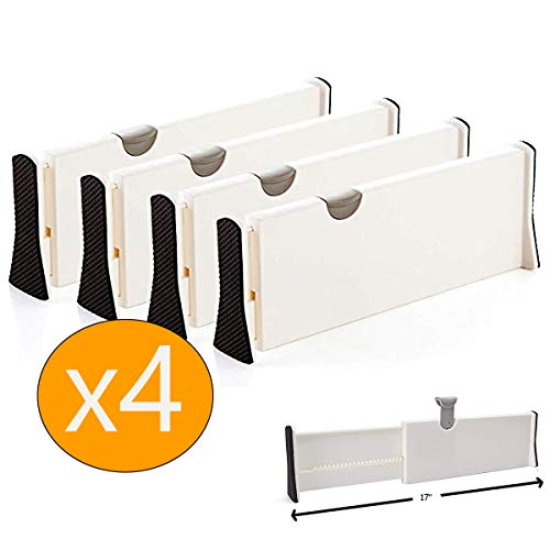 MulYeeh 4 PCS Expandable Drawer Dividers, Adjustable Dresser Drawer Divider, Drawer Organizer Silverware and Utensils Separators, Wardrobe Storage Organization