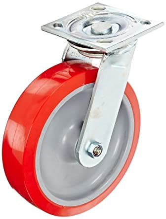 E.R. Wagner Americaster Plate Caster, Swivel, Dust Cover, Polyurethane on Polyolefin Wheel