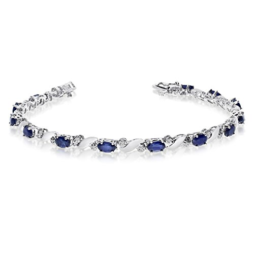 3.25 Carat (ctw) 14k White Gold Oval Blue Sapphire and Diamond Swirl Tennis Bracelet - 7