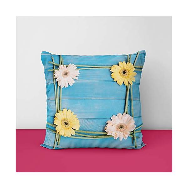 41PfWPQBAvL Colorful Wood Fon Flowers Spring Square Design Printed Cushion Cover