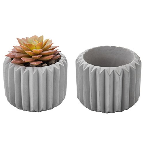 Vintage Fluted - MyGift 4-Inch Fluted Grey Clay Mini Succulent Planters, Set of 2