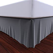 Bed Skirt by Royal - 100% Natural Cotton - Luxurious 4 Side Pleated Skirt that is Durable and Easy to Wash (Grey, Queen)