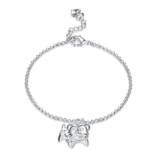 Greendou Fashion Jewelry Chinese Zodiac Pendant Bracelet 925 Sterling Silver Plated Twelve Species Animals Pendant Adjustable Bracelets (Tiger)