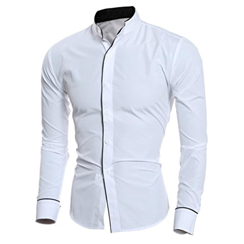 (Men Dress Shirts Daoroka Cotton Casual Long Sleeve Work Wear Button Collar Blouse Slim Fit Fashion Comfort Business Tops T Shirt (M, White))