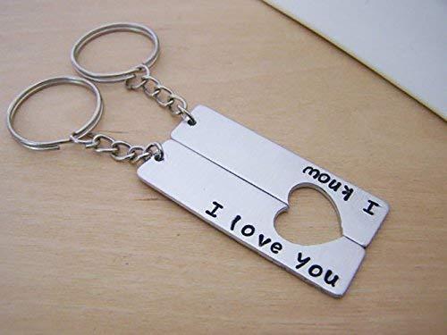 I Love You I Know Half Heart Key Couples Key Chain Set