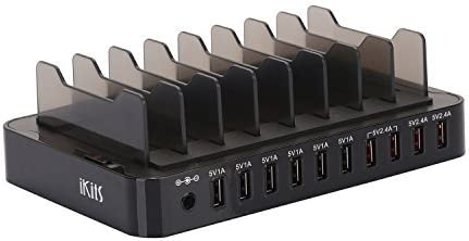 Moto CE Listed Multiple USB Charging Station,IKITS 10-Port 13.2A 66W Phone Charger Hub Multiple Devices Charger Station with Stand 4 Port Smart IC+4 Port 5V 1A Compatible with Samsung iPhone//iPad