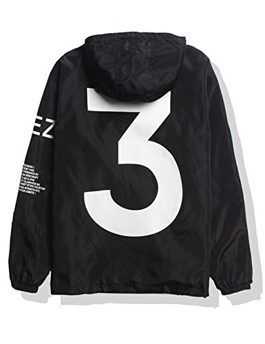 Baguet Men Waterproof Letter Print Jacket Hip-Pop Long Sleeve Anti-Sun Hoodie Streetwear,Large,Black