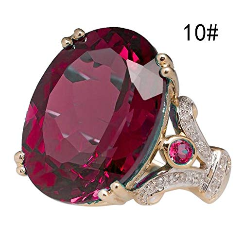 Gbell Women Luxury Ruby Diamond Rings Statement Charms - Fashion Gorgeous Gemstones Gold Engagement Wedding Rings for Women Ladies Girls Jewelry Gifts,Size 6 7 8 9 10 from Gbell