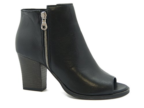 Open Osvaldo hazards Boot Leather High Heels 8 cm and non-slip rubber soles - 8005 Black oIMTThN