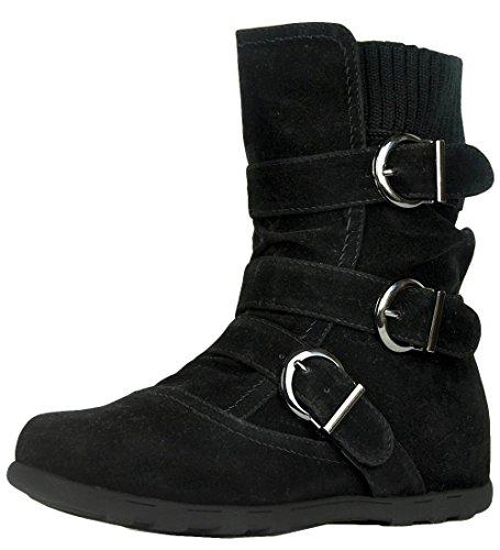 Refresh Footwear Elma-01 Women's Buckle Sweater Knit Flat Ankle Boot,Black,7 - Black Soft Calf Footwear