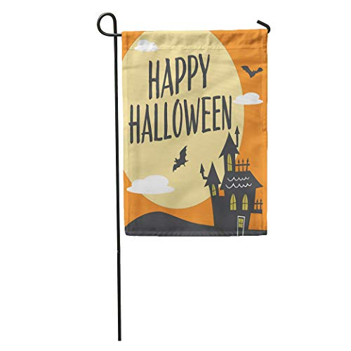 (Semtomn Garden Flag Email Happy Halloween Haunted House Moon and Bats Cute Cartoon Home Yard Decor Barnner Outdoor Stand 28x40 Inches)