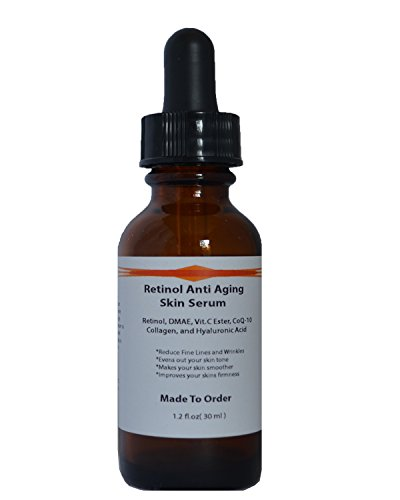 Retinol Anti Aging Skin Serum with Retinol, DMAE, Vitamin C Ester, CoQ-10, Collagen and Hyaluronic Acid (1.2oz)