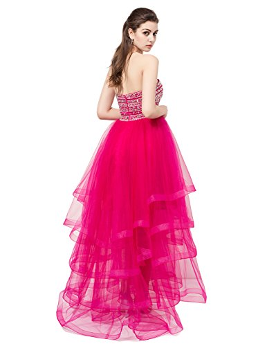 Dresstells®Vestido De Fiesta Alto-Bajo Mujer Organdí Escote Corazón Con Cuentas Blanco