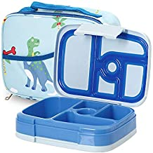 Kids Bento Lunch Box Set in Blue w/Dinosaur Design Lunch Bag, 5 Compartment Bento Box for Kids,...