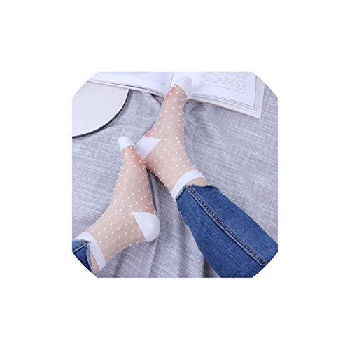 (Thin Ankle Socks Women Glass Transparent Short Socks Female Art Fishnet Socks Sox,W4)