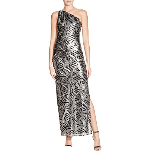 Laundry by Shelli Segal Womens Metallic One Shoulder Evening Dress Silver 6 (Metallic One Shoulder Gown)